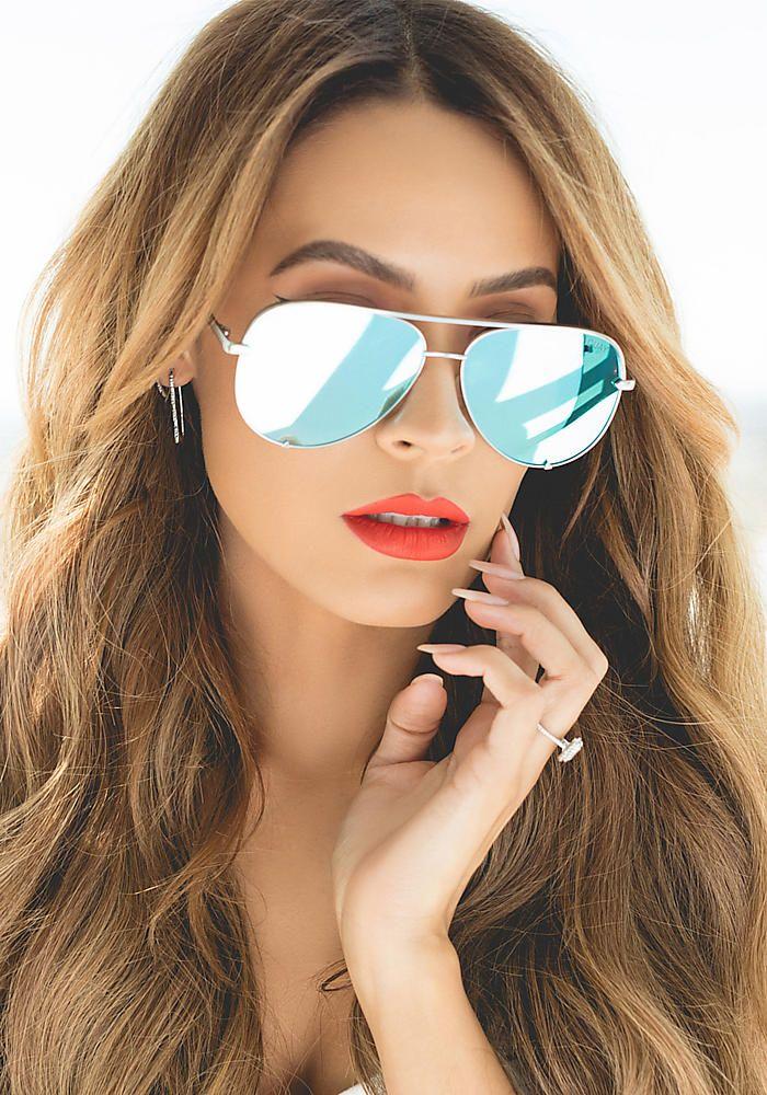 acb71f36f9 Quay x Desi Perkins High Key Aviator Sunglasses in Silver   Blue in ...