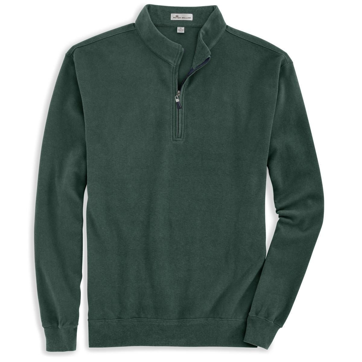 Peter Millar Men S Spur Green Melange Fleece Quarter Zip Clothes