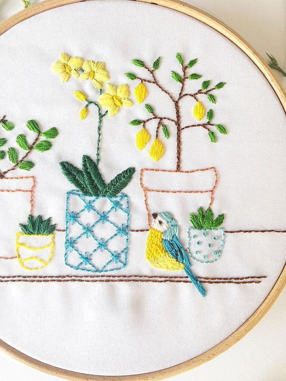 House Plant Dreams Hand Embroidery Pattern Embroidery Pdf