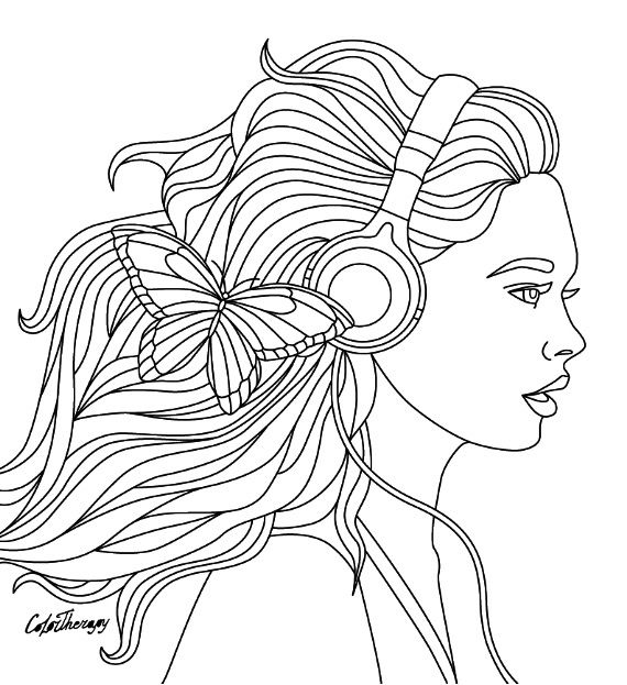 Listen To The Music Coloring Page Color Therapy App Try This