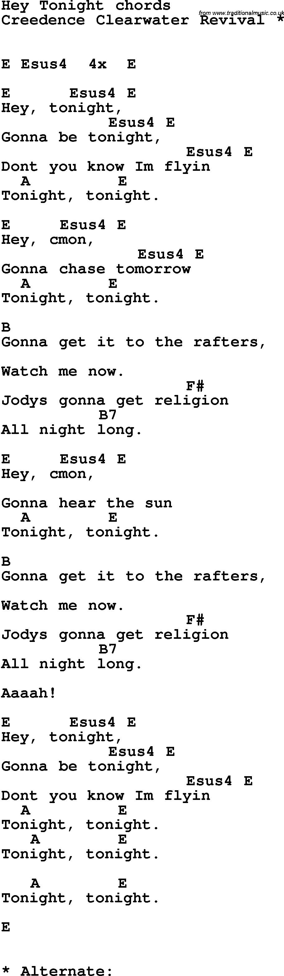 Song Lyrics With Guitar Chords For Hey Tonight Song Lyrics W