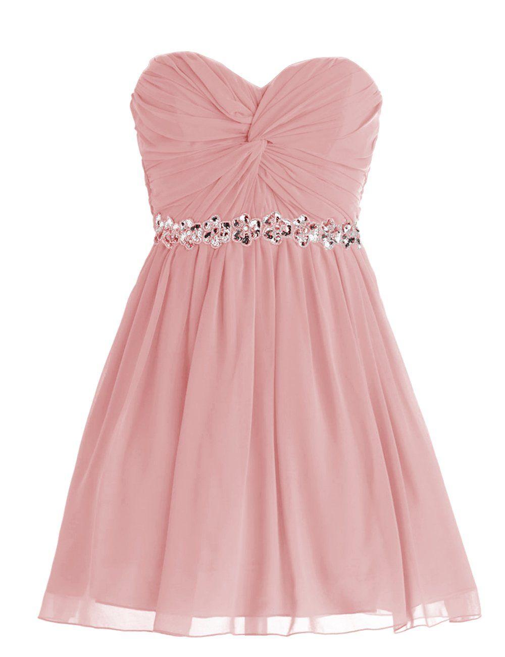 Dressystar Short Chiffon Bridesmaid Dresses Strapless Girls Prom ...