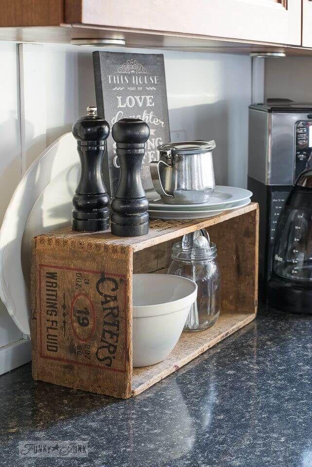 Self-Serve Condiment and Flatware Crate #vintagekitchen