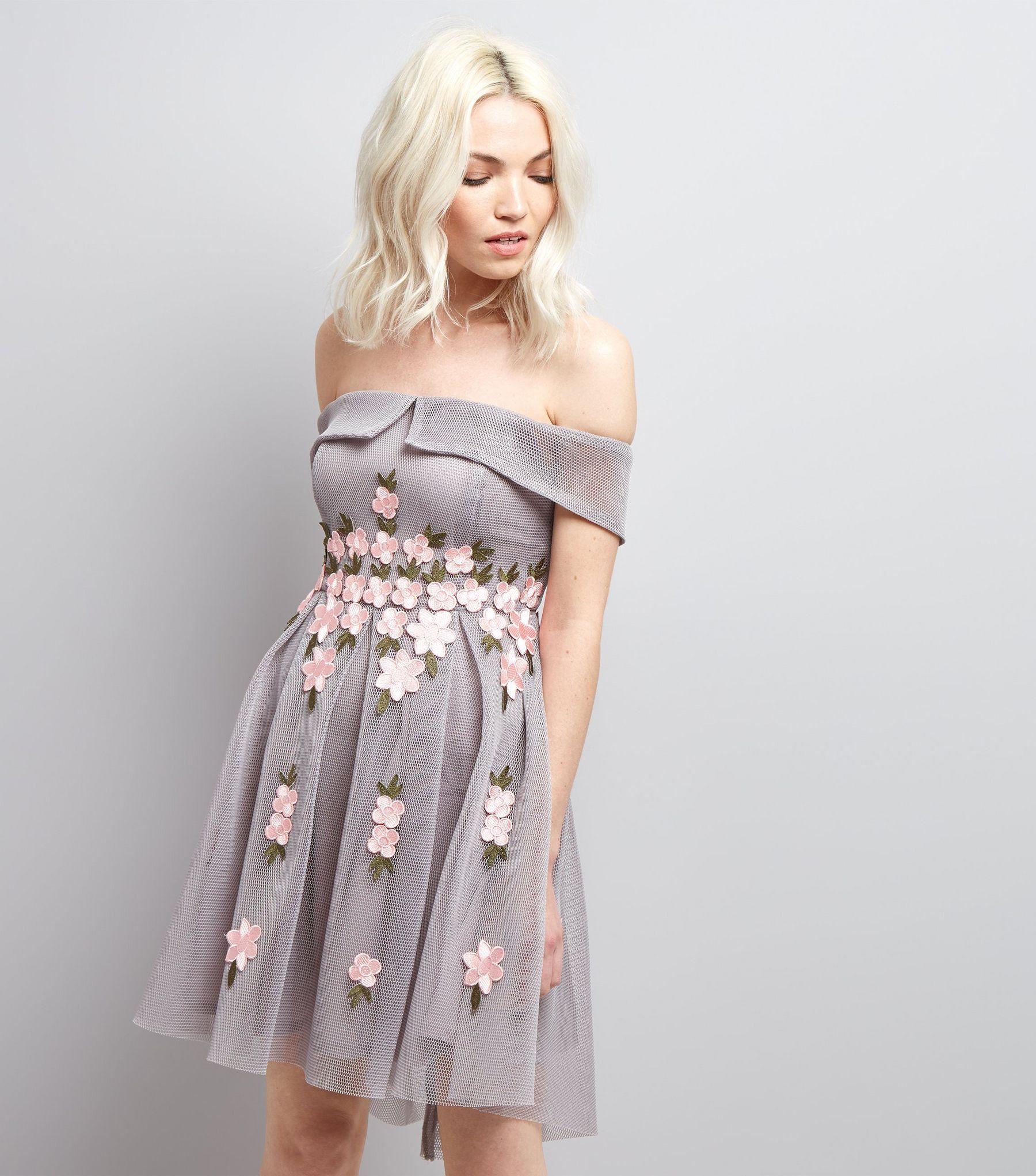 Petite grey mesh floral applique bardot neck dress shops grey and
