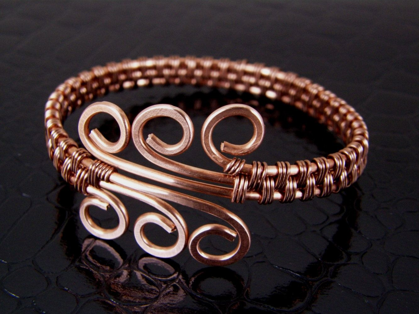 Wire Wrapped Copper Spiral Wire Weave Bracelet or Bangle. $39.00 ...