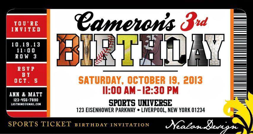 nealon design sports ticket birthday invitation sports party