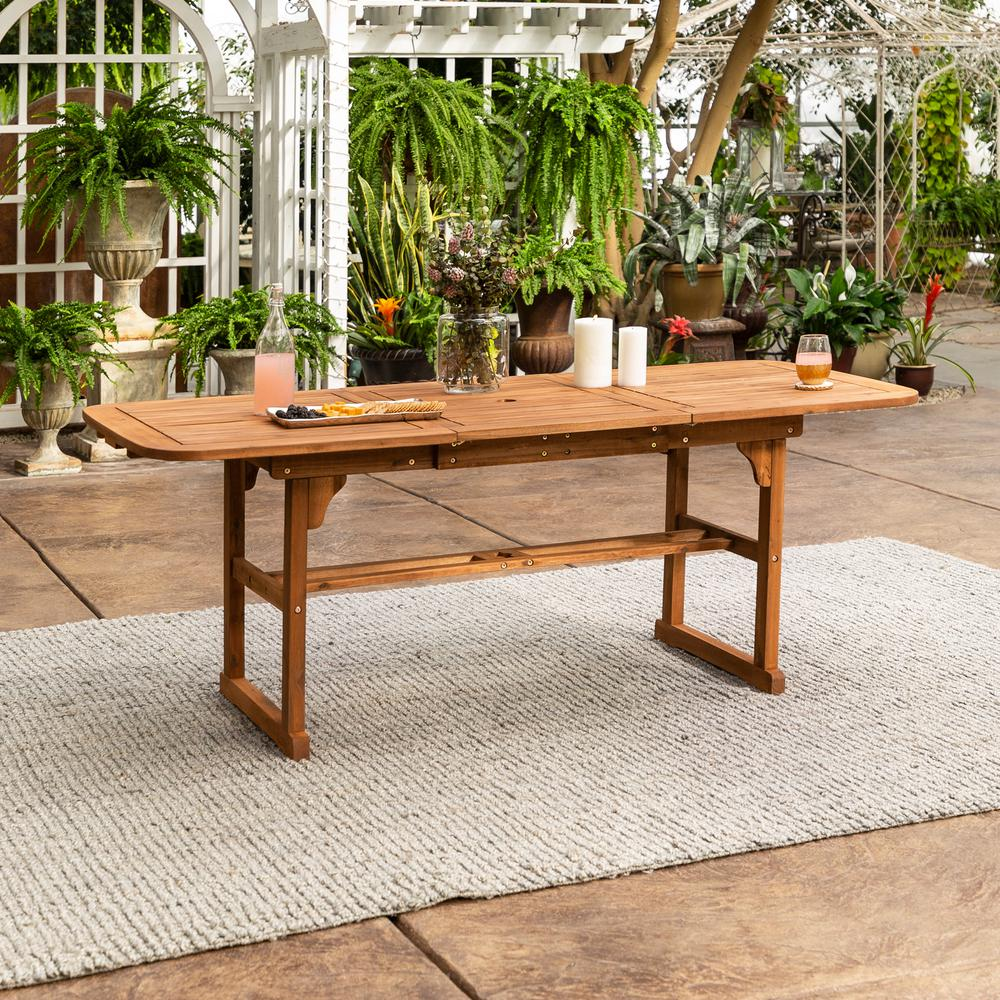 Walker Edison Furniture Company Boardwalk Brown Acacia Wood Extendable Outdoor Dining Table Hdwtexbr The H Outdoor Dining Table Dining Table Patio Dining Set