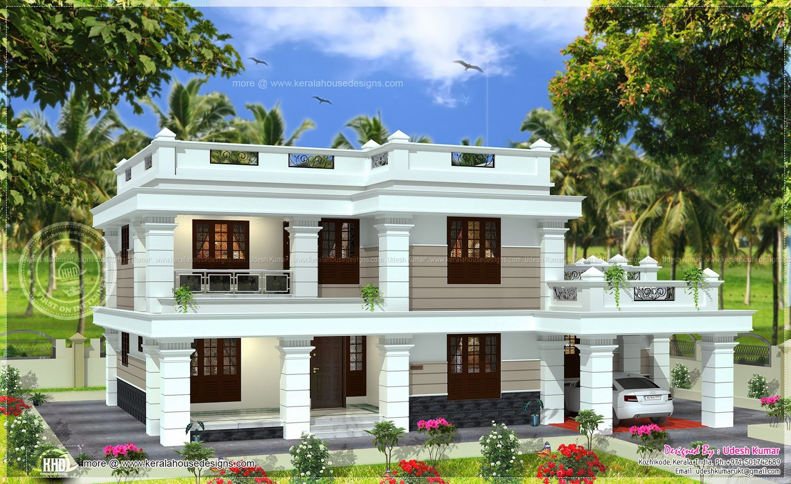 3 Bedroom Modern Flat Roof House Layout Part - 31: Flat Roof House In 2567 Square Feet - Kerala Home Design And Floor .