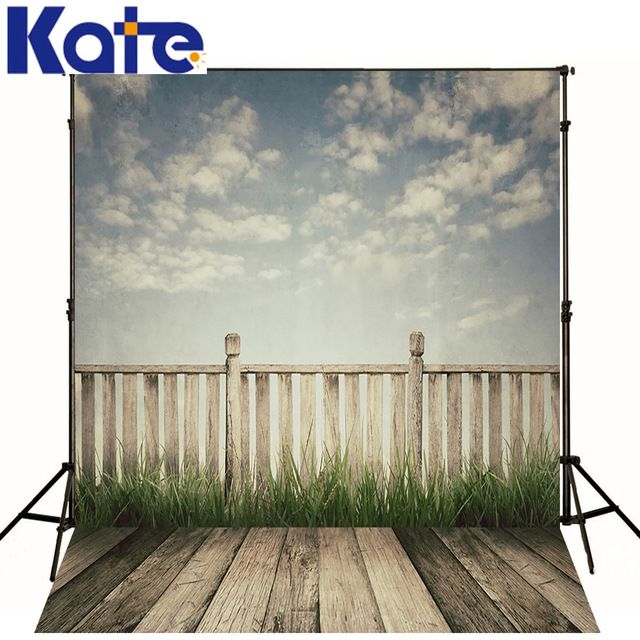 Kate Newborn Baby Background Railing Green Grass Photography Backdrop Dark Wood Texture Floor For Photo Shoot