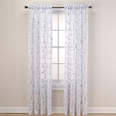 Caspia Rod Pocket Sheer Window Curtain Panel White Sheer