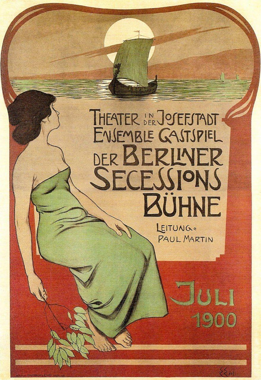 Poster design 1900 - Vintage Poster Th Tre De La S Cession Berlinoise Edmund Edel 1900