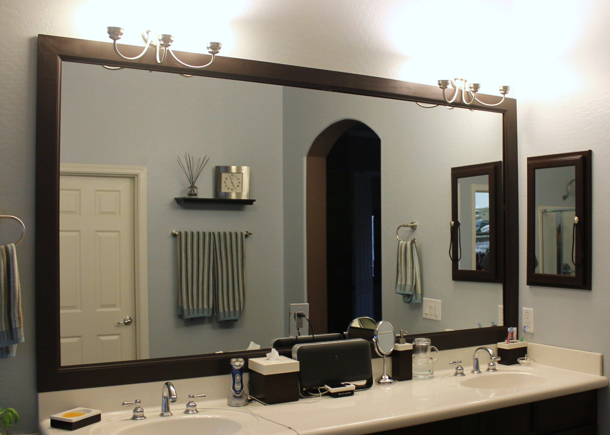 Elegant Framed Mirror For Bathroom And White Vanity Countertop Of