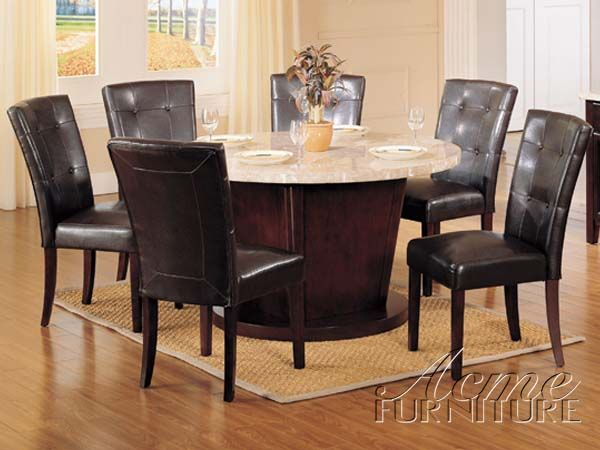Britney 7pc white marble dining table set 17148 s by acme ...