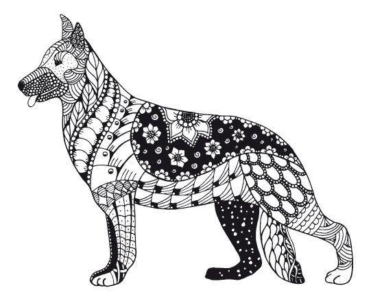 Kostenloses Ausmalbild Hund - Schäferhund. Die gratis Mandala ...