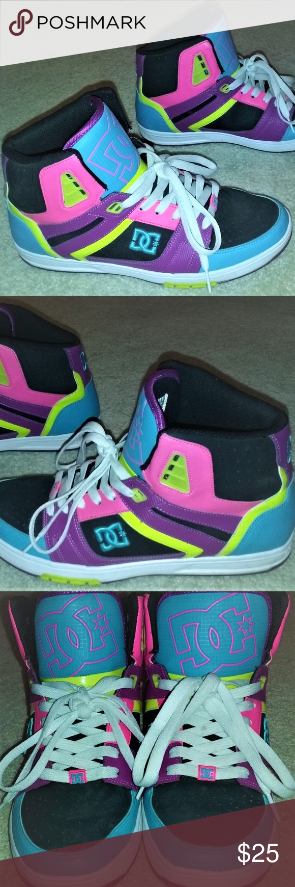 DC High Top Skate Shoes Bright Neon
