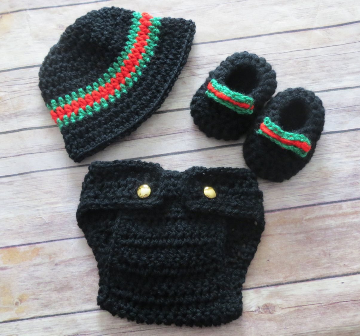 d94e7b8ff Wouldn't your baby boy look super cute in this getup? Gucci inspired hat,  diaper cover and booties for photo props.