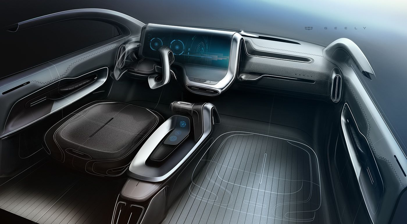 Geely Interior Sketches On Behance Interior Sketch Car