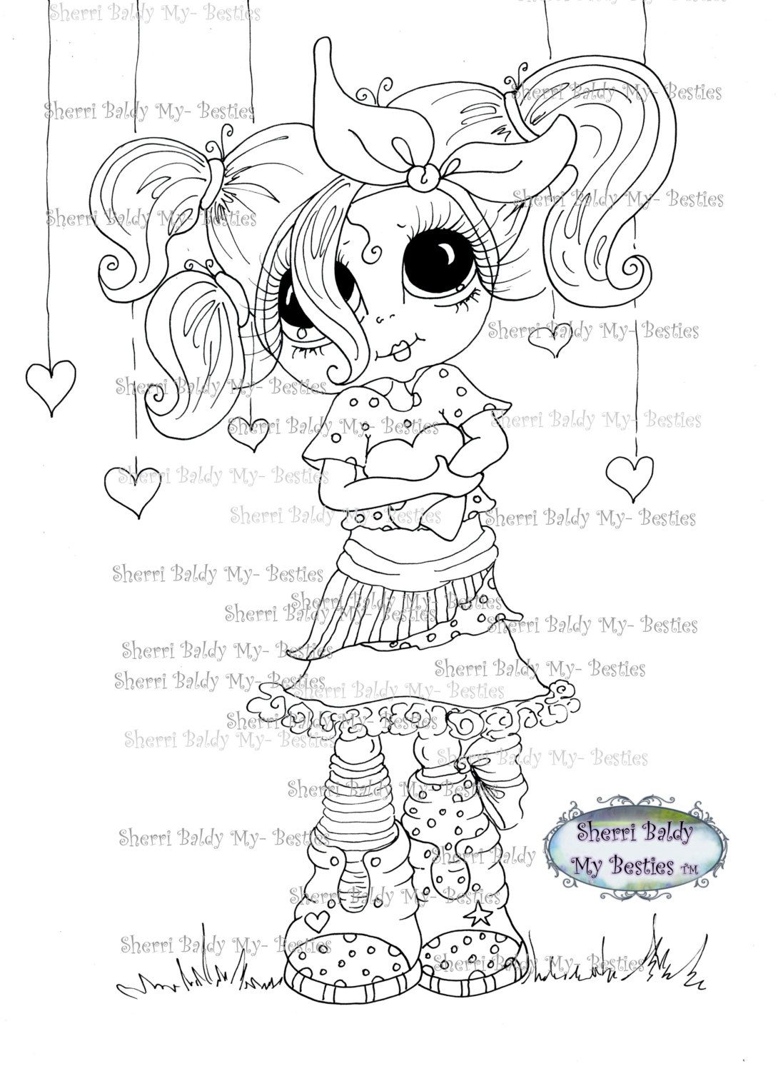 Instant download digital digi stamps big eye big head dolls img