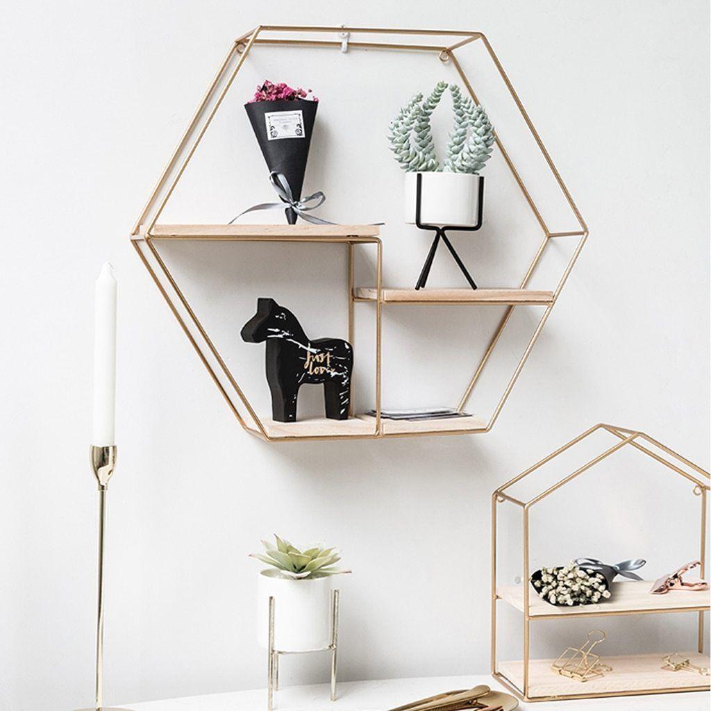 Nordic Iron Hexagonal Grid Wall Shelf Decorative Storage Rack