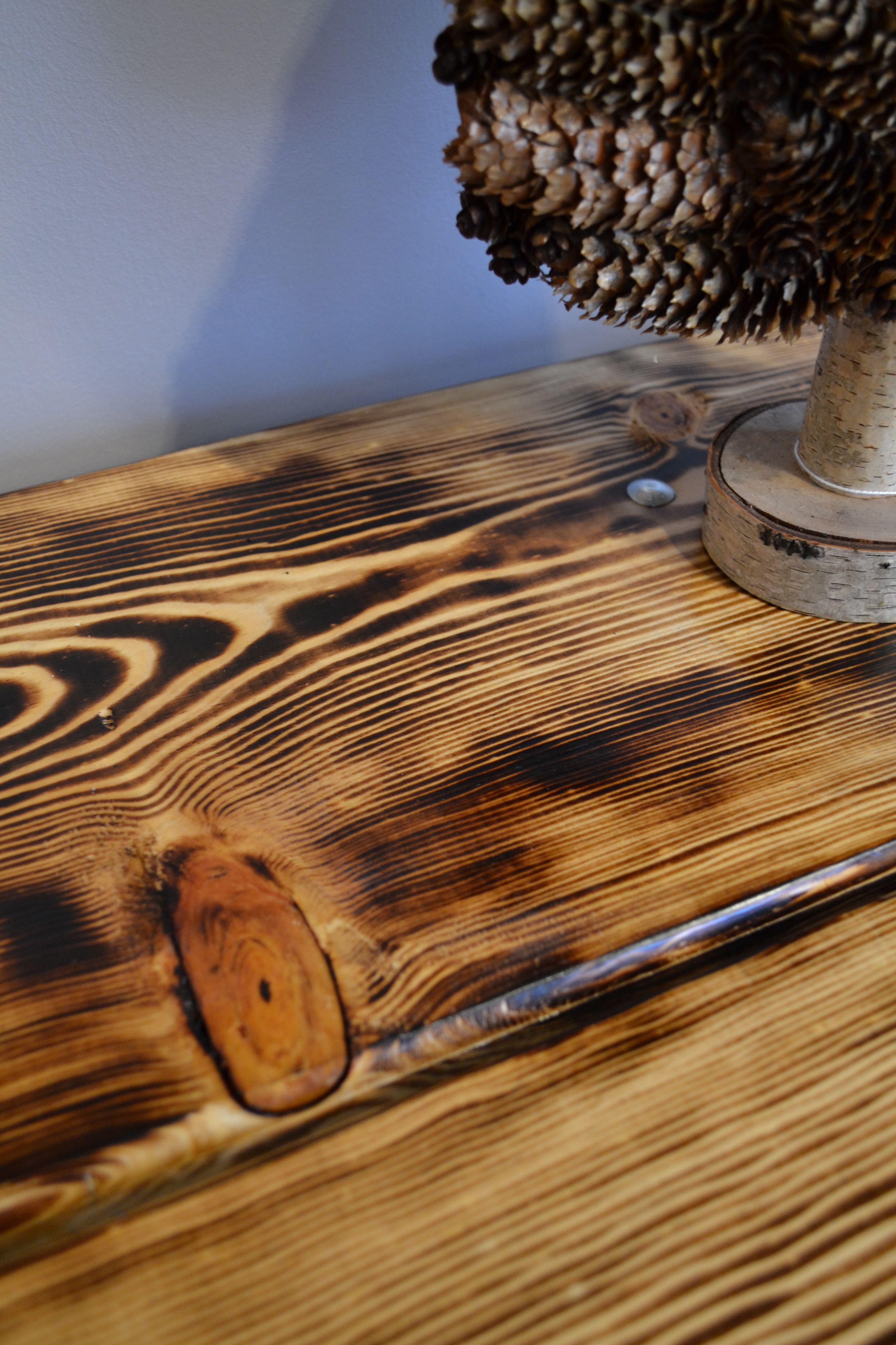 Burn it up Rustic pine table J. Paris Designs Blog