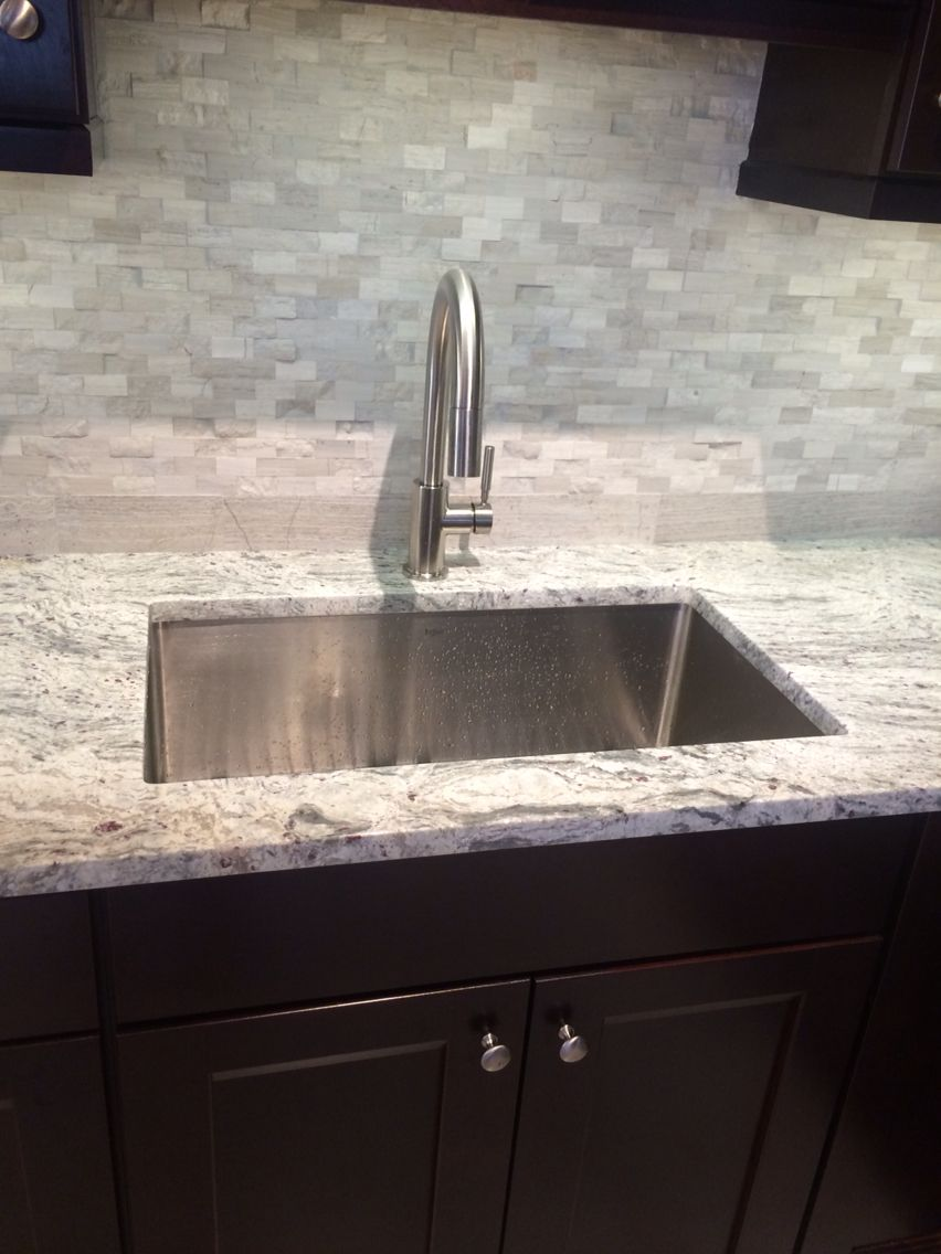 Delta Trask Faucet Kraus 30 Undermount Sink Grey Marble Split Face Natural Stone