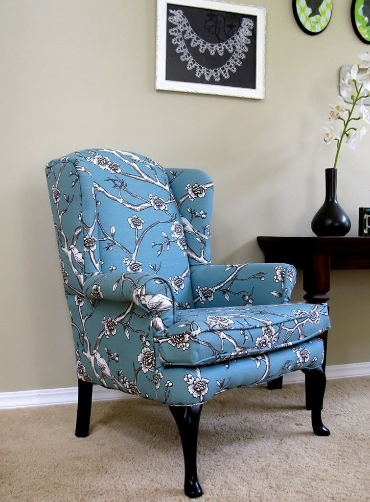 Wonderful Furniture Wingback Chairs Styles. Sky Blue And White Floral  Pattern Upholstered Fabric