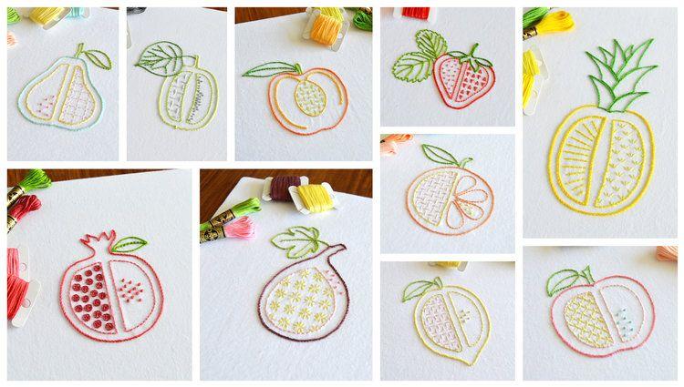 10 pattern bundle embroidery PDF Chopped Fruit hand embroidery pattern fruit designs PDF pattern embroidery patterns modern embroidery