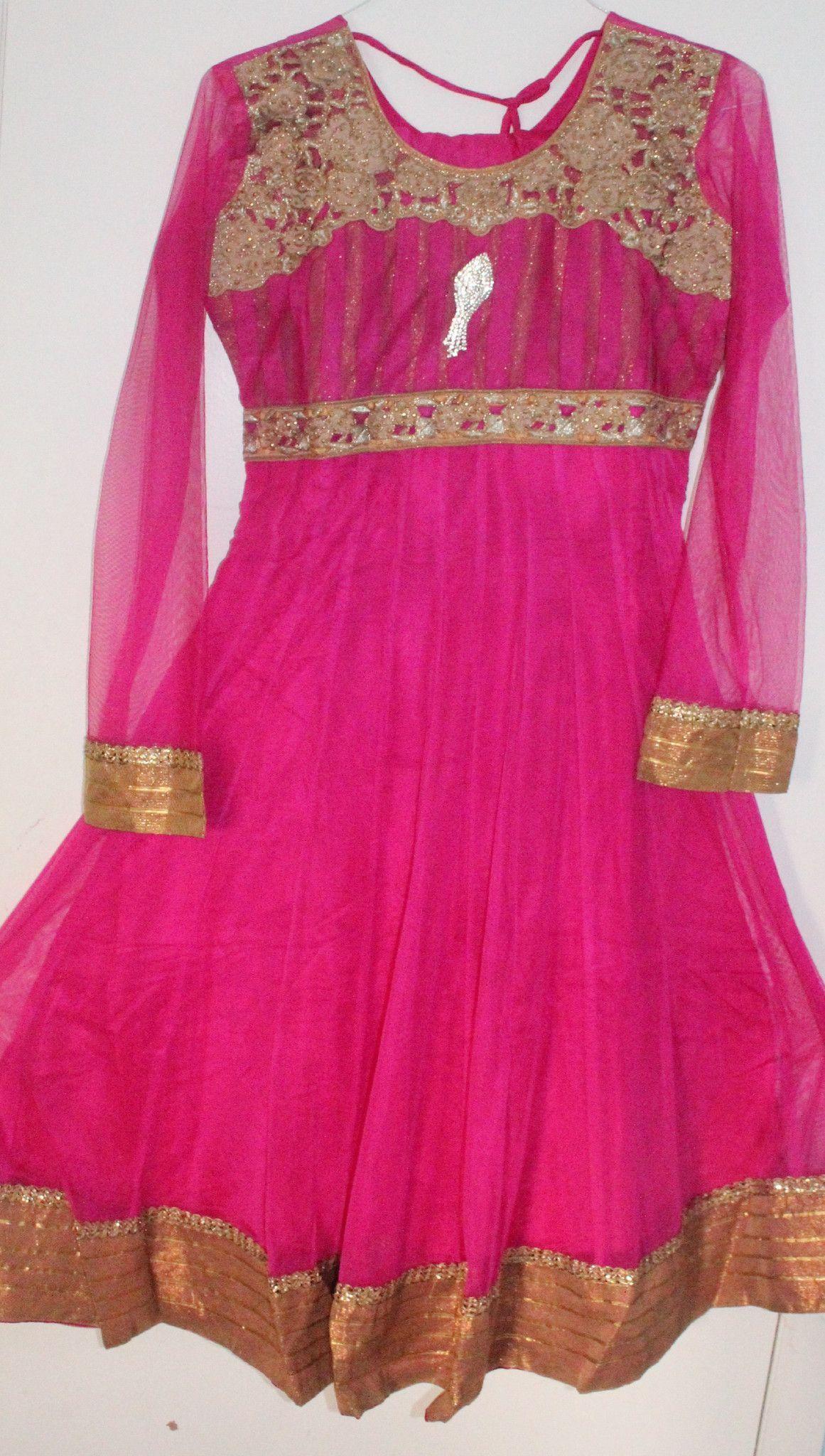 Pink Net Readymade Anarkali Churidar Dress