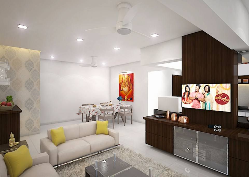 3d Views Of 2 Bhk Flat Design By Wdf Space Design Interior Design Freelance Business Malad West Mumbai India Founder Interior Design Interior Home Decor