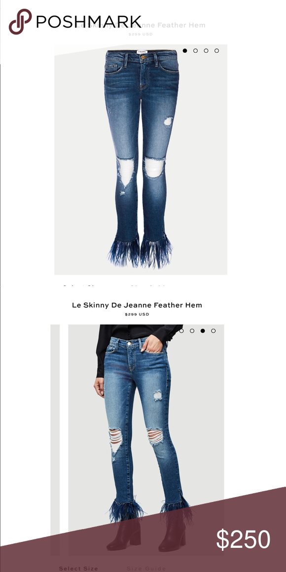 Frame Le Skinny De Jeanne Feather Hem | Frame denim, Feathers and Skinny