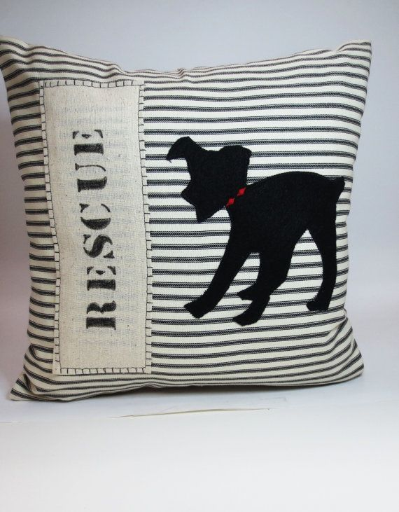 Decorative+Throw+Pillow+Cushion+Cover+with+by+ecarlateboutique, dog pillow,  rescue dog gift