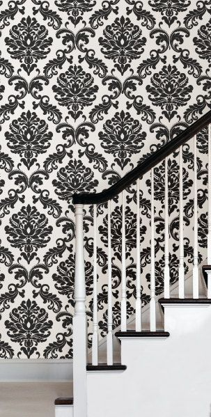 Ariel Black And White Damask Nu1646 Peel And Stick Wallpaper Sold By The Yard Vinyl Wallpaper Peel And Stick Wallpaper Wallpaper