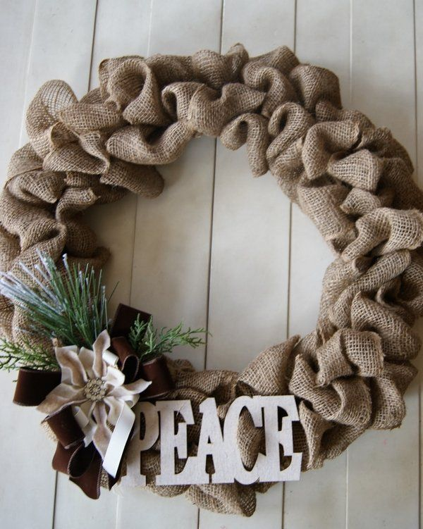 Lovely Burlap Craft Ideas For Christmas Part - 11: Burlap Christmas Wreath Christmas Crafts Ideas Homemade Christmas  Decoration DIY