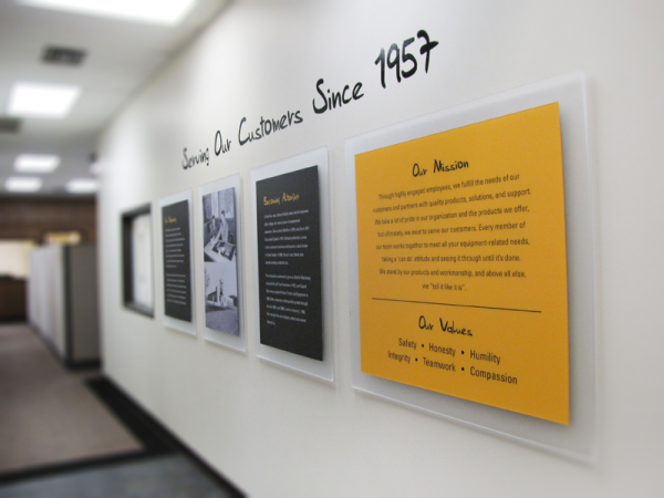 Custom design corporate history wall for caterpillar for Corporate office decorating ideas pictures