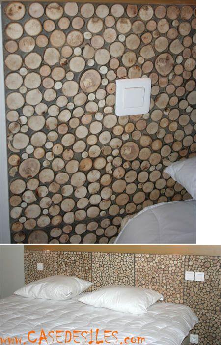 Dalle murale de rondins de bois 30x30