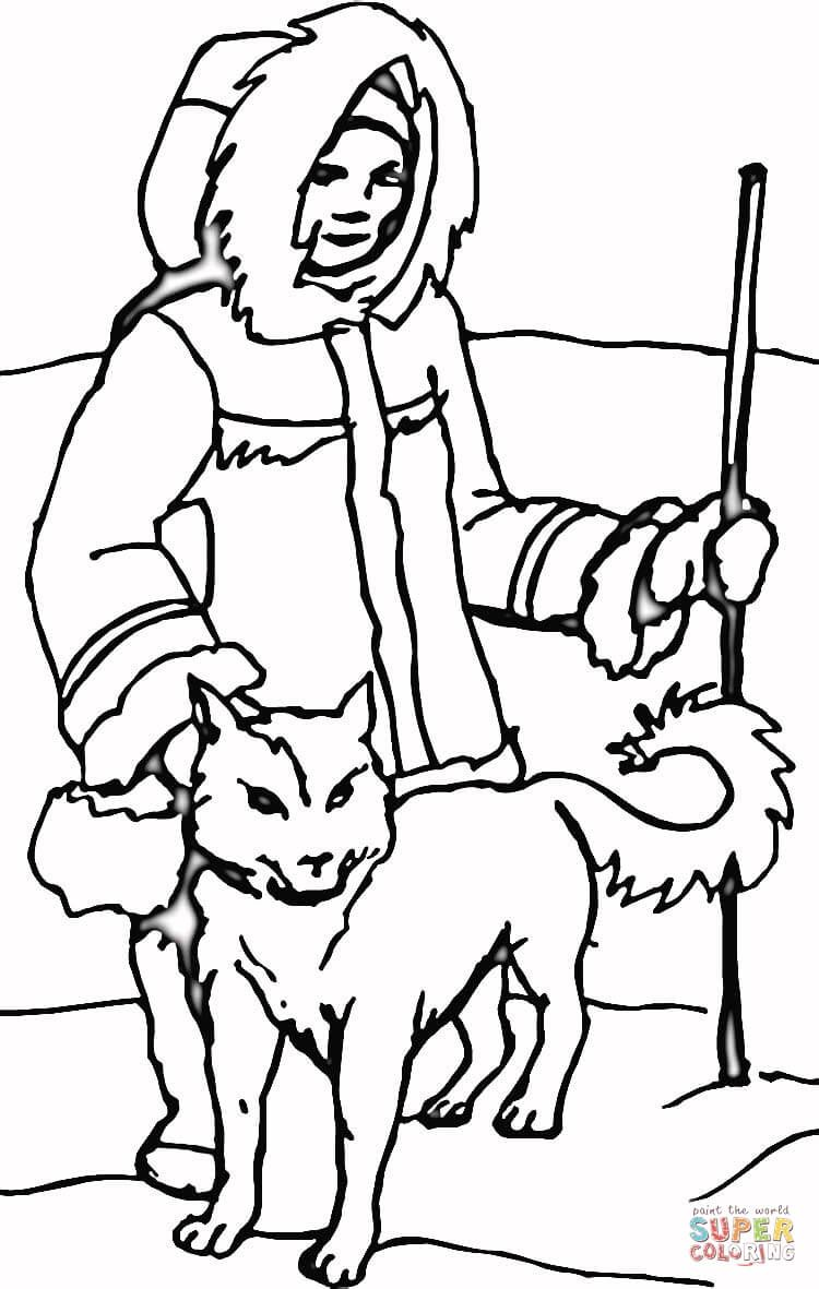 Eskimo dog with Eskimo coloring page from Dogs category
