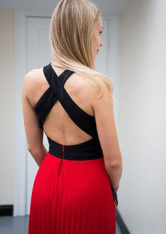 Guido maria kretschmer abendkleid rot schwarz