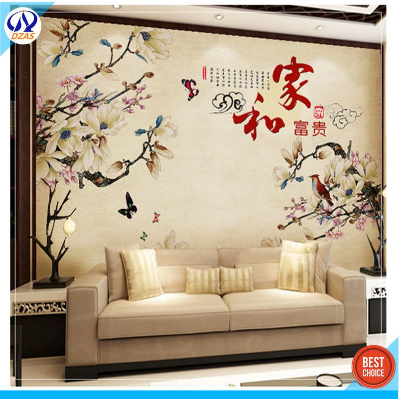 Chinese style hand - painted living room wallpaper mural seamless