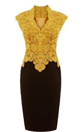NoeMie Women Lace Elegant Sleeveless Dress,Yellow