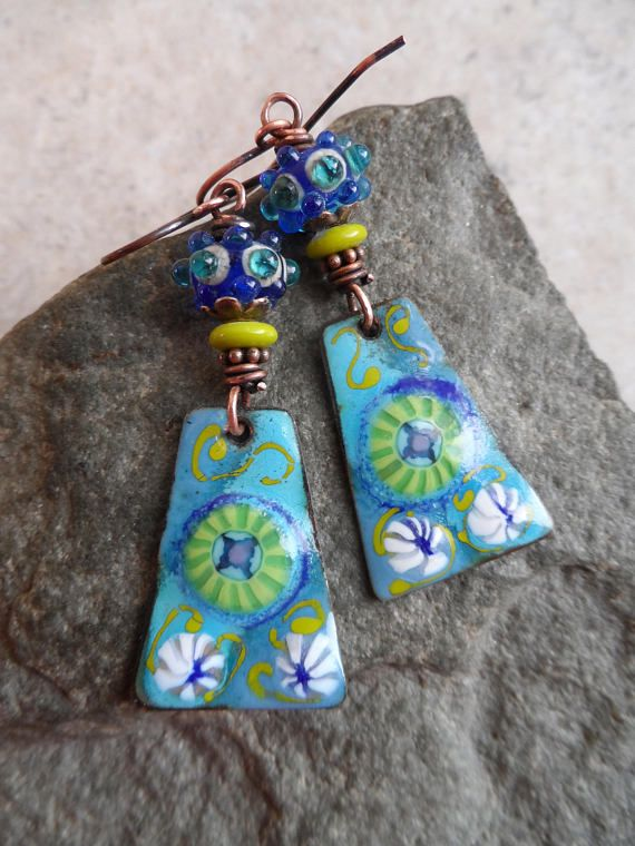 Enchanted ... Artisan-Made Enameled Copper Charm, Lampwork and ...