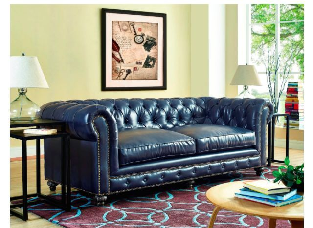 Chesterfield Blue Leather Sofa Tufted Navy Couch Reclaimed Wood Feather  Down #TraditionalChesterfieldTransitionalContemporary