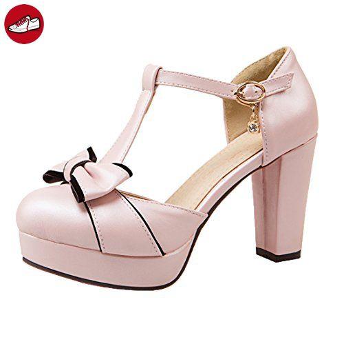 Damen süß T-Spangen High Heels Plateau Pumps mit Blockabsatz und Riemchen  Schleife Schnalle Schuhe