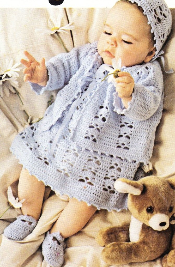 free Vintage Crochet Baby Layette Set | Baby Crocheted Layette 4ply ...