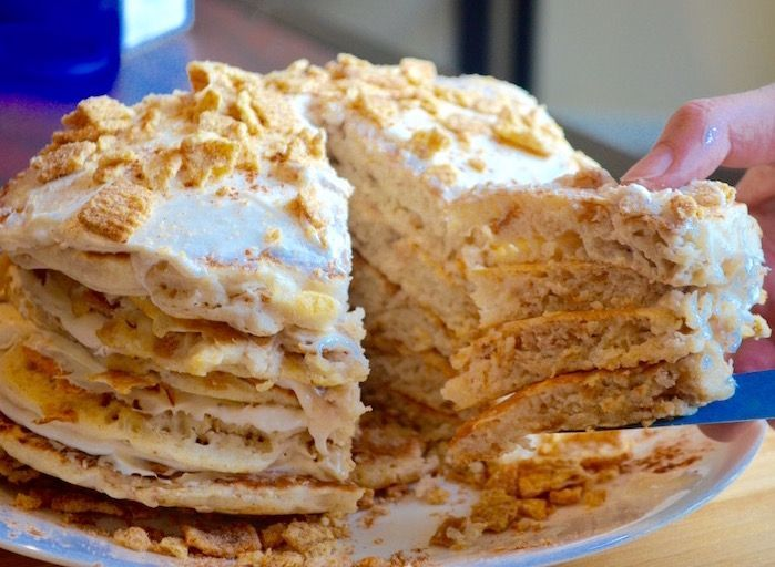 These Cinnamon Toast Crunch Pancakes Will Make You Crave Those Crazy Squares #cinnamontoastcrunch These Cinnamon Toast Crunch Pancakes Will Make You Crave Those Crazy Squares #cinnamontoastcrunch