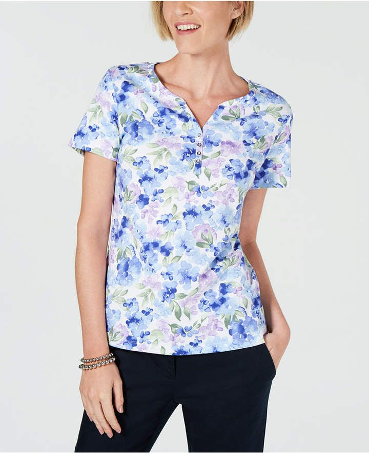 c177c4fe Karen Scott Printed Henley T-Shirt, Created for Macy's - Blue XS in ...
