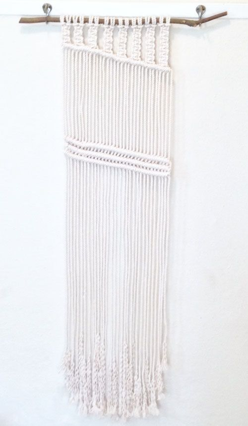 One of a Kind Macrame wall hanging made from cotton rope and wooden branch.  www.melissajeanmade.bigcartel.com