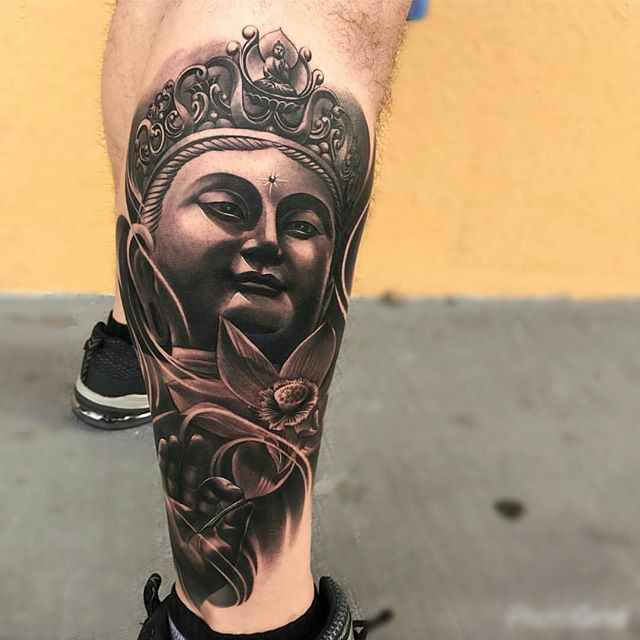 Leg Sleeve In Progress By Artist Gabrielink Art Located Miami Fl Hit Him Up For Booking Info Bnginksociet Buddha Tattoos Buddha Tattoo Sleeve Tattoos