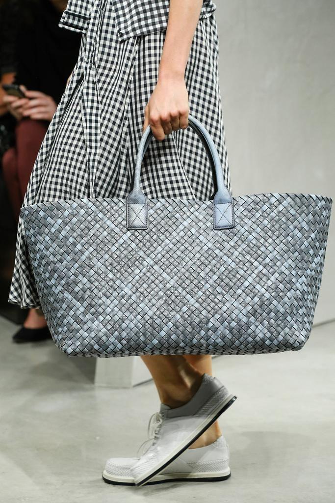 aa3d2aa0a7 Bottega Veneta Taupe and Blue Cabat Weave Shopping Tote Bag - Spring 2015