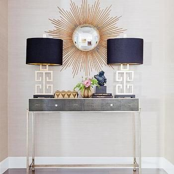 Andy Warhol Chanel Contemporary Entrance Foyer Catherine Kwong Design Gray Console Table Console Table Hallway Console Table Decorating