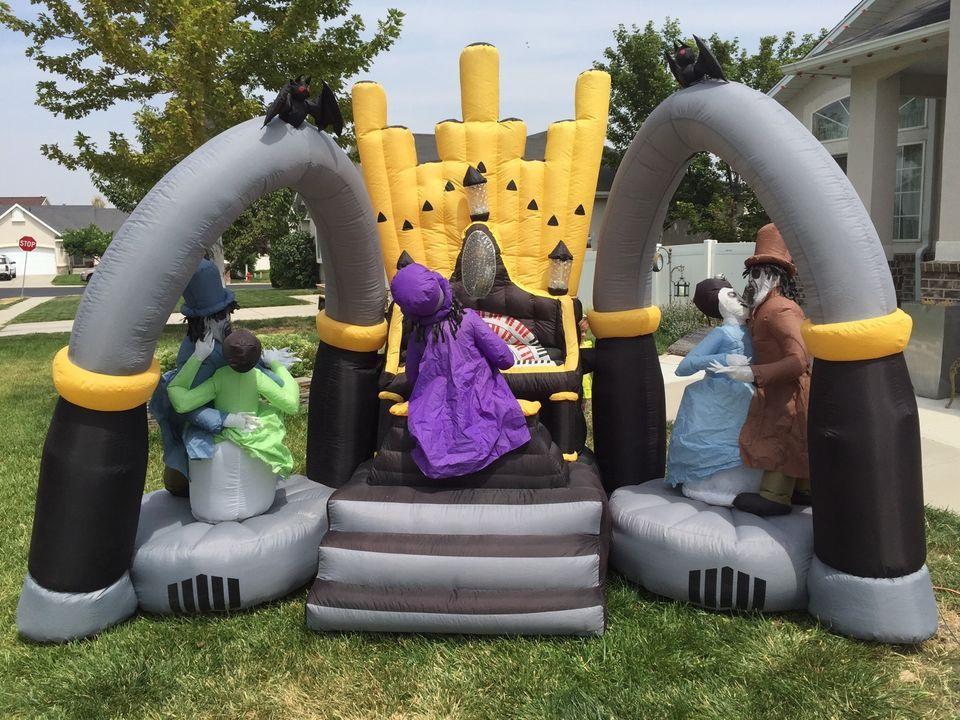 gemmy airblown inflatable lightshow zombie organ scene huge lk at pics